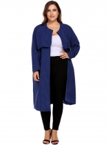 Blue Women Casual Plus Size Long Sleeve Solid Coat