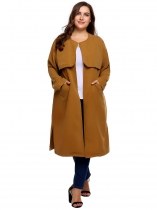 Brown Women Casual Plus Size Long Sleeve Solid Coat