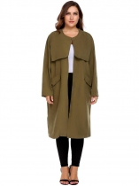 Green Women Casual Plus Size Long Sleeve Solid Coat