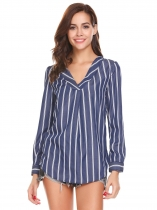 Dark blue Women Casual V-Neck Long Sleeve Striped Loose Sexy OL Shirt T-shirt Blouse