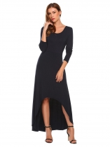 Dark blue O Neck Long Sleeve High Waist Solid Irregular Hem Swing Evening Dress
