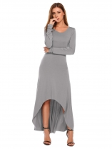 Grey O Neck Robe de soiree