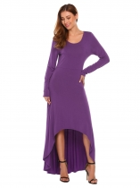 Purple O Neck Long Sleeve High Waist Solid Irregular Hem Swing Evening Dress