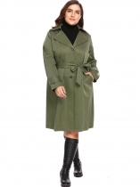 Army green New Women Casual Hooded Long Sleeve Solid Single Breasted Trench Coat
