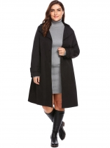 Black New Women Casual Hooded Long Sleeve Solid Single Breasted Trench Coat