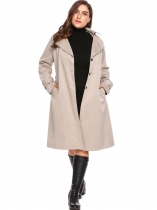 Khaki New Women Casual Hooded Long Sleeve Solid Single Breasted Trench Coat