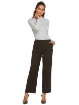 Black Women Semi Elastic Waist Casual Comfort Wide Leg Pants