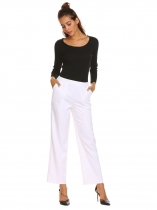 White Women Semi Elastic Waist Casual Comfort Wide Leg Pants