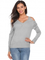 Light gray V-Neck Cold Shoulder Long Sleeve Solid Knit Pullover Sweater
