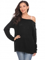 Black One Shoulder Long Sleeve Solid Loose Knit Sweater