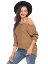 Khaki One Shoulder Long Sleeve Solid Loose Knit Sweater