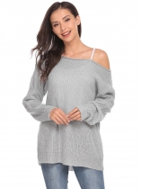 Light gray One Shoulder Long Sleeve Solid Loose Knit Sweater