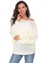 White Batwing Sleeve One Shoulder Solid Loose Knit Pullover Sweater