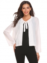 White Flare Sleeve Lace Up Split Front Solid Casual Chiffon Cropped Jacket