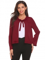 Wine red Flare Sleeve Lace Up Split Front Solid Casual Chiffon Cropped Jacket