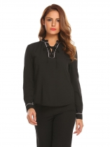 Black Women Fashion Lace-Up V-Neck Long Sleeve Solid Pullover blouse