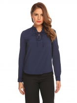 Dark blue Women Fashion Lace-Up V-Neck Long Sleeve Solid Pullover blouse