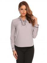 Gray Women Fashion Lace-Up V-Neck Long Sleeve Solid Pullover blouse