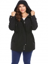 Black Plus Size Hooded Long Sleeve Zip-up Trench Coat