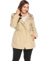 Khaki Plus Size Hooded Long Sleeve Zip-up Trench Coat