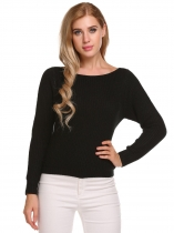 Black Long Sleeve Solid Loose Knitted Pullover Sweaters