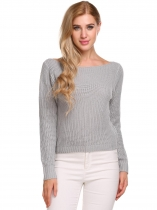 Light gray Long Sleeve Solid Loose Knitted Pullover Sweaters