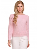 Pastel pink Long Sleeve Solid Loose Knitted Pullover Sweaters
