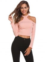 Dark pink Women Fashion Halter Backless Long Sleeve Solid Rib Slim T-Shirt Crop Tops