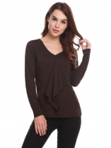 Coffee Women Casual V-Neck Long Sleeve Solid Front Ruffle Pullover Slim Sexy Blouse T-shirt Tops