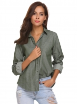 Army green Women Long Sleeve Solid Classic Denim Casual Button Down Shirt with Pocket