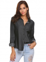 Schwarz Frauen Langarm Solid Classic Denim Casual Button-Down-Shirt mit Tasche