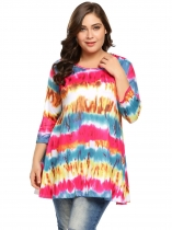 Rose red Women Plus Size 3/4 Sleeve Printing A-Line Comfy Tunic T-Shirt