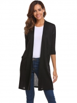 Black Women Casual Half Sleeve Solid Open Front Knit Cardigan