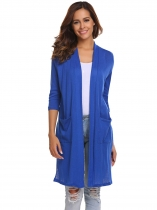 Royal Blue Women Casual Half Sleeve Solid Open Front Knit Cardigan