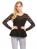 Black Women's O-Neck Long Sleeve Lace Patchwork Slim Fit Peplum Top
