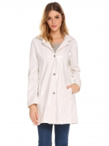 White Women Casual Detachable Hat Long Sleeve Solid Button Pocket Loose Raincoat Outwear