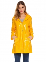 Yellow Women Casual Detachable Hat Long Sleeve Solid Button Pocket Loose Raincoat Outwear