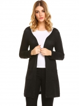 Black Women's V-Neck Long Sleeve Button Down Slim Cardigan Sweater w/ Pocket
