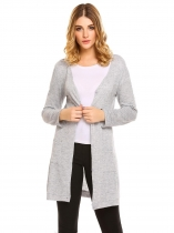 Gray Women's V-Neck Long Sleeve Button Down Slim Cardigan Sweater w/ Pocket