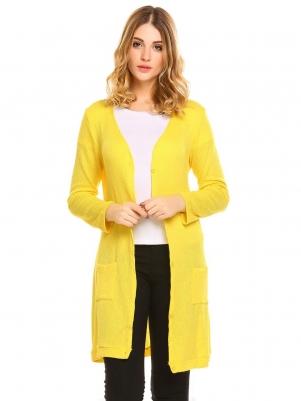 0986f871a61f30 Yellow Women s Sweater Down Slim Pocket