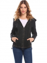Black Women's Hooded Long Sleeve Zip Up Slim Fit Denim Jacket w/ Pocket