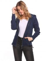 Dark blue Women's Hooded Long Sleeve Zip Up Slim Fit Denim Jacket w/ Pocket