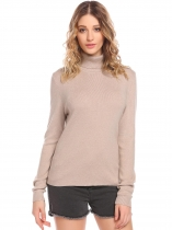 Apricot Women Ribbed Knit Turtleneck Long Sleeve Slim Fit Basic Pullover Sweater