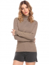 Brown Women Ribbed Knit Turtleneck Long Sleeve Slim Fit Basic Pullover Sweater