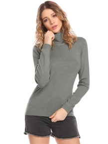 Green Women Ribbed Knit Turtleneck Long Sleeve Slim Fit Basic Pullover  Sweater 02f7a4fbb6