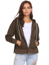 Dark brown Women Long Sleeve Slit Hem Drawstring Hooded Jacket Zip-Up Fleece Hoodie