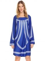 Royal Blue Women Casual Round Neck Long Sleeve Printed Loose Straight Dress