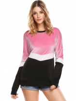 Pink Women Long Sleeve Drop Shoulder Contrast Color Patchwork Casual Sweatshirt