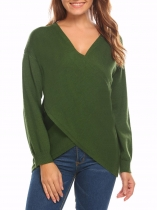 Army green Women Criss Cross Wrap Front V Neck Long Sleeve Knit Sweater Jumper