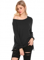 Black O Neck Solid Loose Fit Lantern Sleeve Casual Top